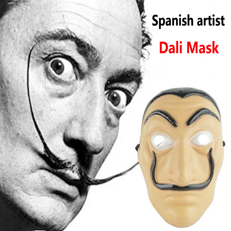 Salvador Dali Latex Cosplay Mask La Casa De Papel Mask Halloween Realistic Adult Party Props Masks