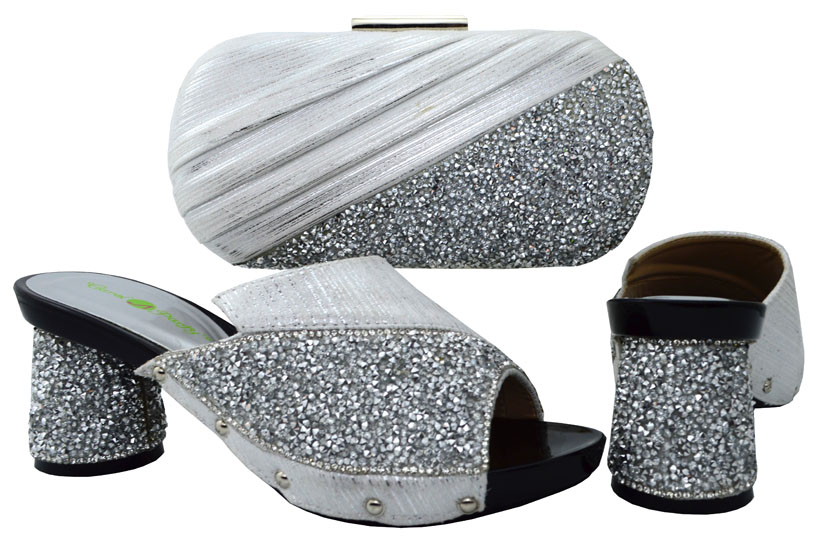 ФОТО Fashion Style Shoes And Matching Bag Set African Pumps Shoes And Matching Bag Sets For Wedding&Party BCH-13 In Silver Color.
