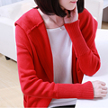 Autumn Winter Long Thicker Even Cap Cardigan Red Warm Sweater Coat