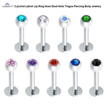 2 pcs 16G 6mm Gem Ball Labret Lip Piercing Nariz Oreja Nose Piercing Helix Piercing Tragus Nose Ring Cartilage Earrings Pircing(China)