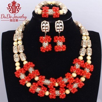 Romantic Coral Copper Jewelry Set Brand New Indian Style Jewellery Plated Gold Red African Beads Nigerian Wedding Jewelry Set