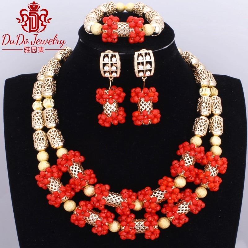 Romantique Coral Ensemble De Bijoux De Cuivre Marque New Indian Style Bijoux Plaqué Or Rouge Perles Africaines Mariage Nigérian Ensemble de Bijoux