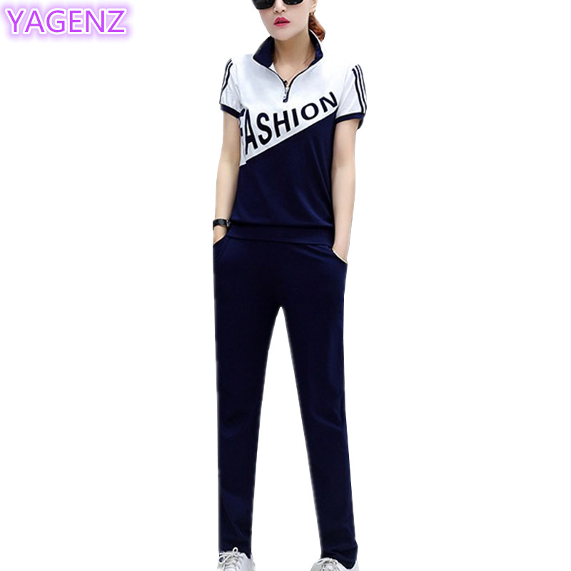 YAGENZ Large Size Womens Clothing Summer Fashion Short Sleeve Long Pants Women Sportswear Suit Slim Students Two Piece Set A220