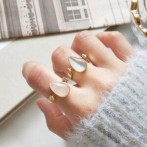 Image 4 - 925 Sterling Zilver Natuurlijke Edelsteen Gold Teardrop Roze Rozenkwarts Halfedelsteen Ringen Amerikaanse Maat 8 #