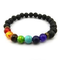LANWAYLUCKY Natural Stone Bracelets Colorful Chakra Yoga Buddha Beads Energy Lava Bracelet For Men And Women Jewelry Gift