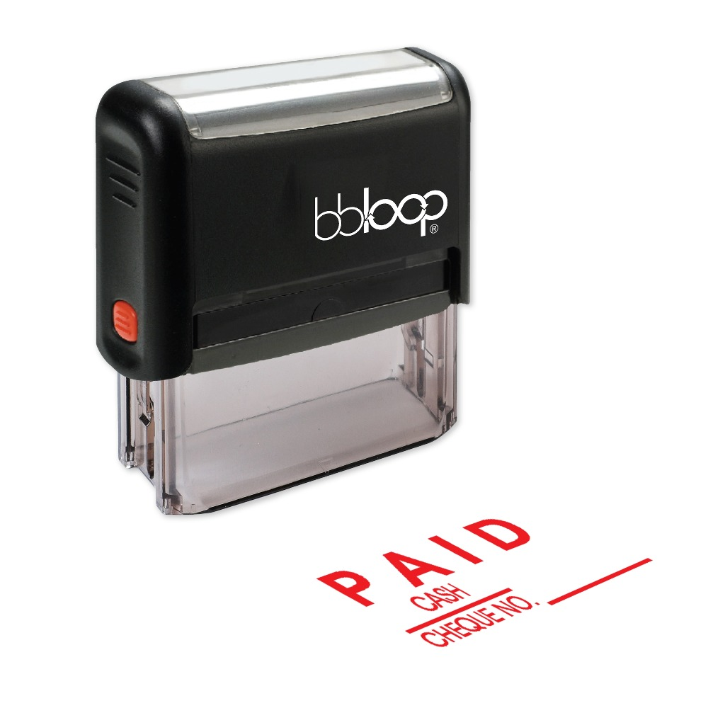 BBloop PAID W/Option For Cash Or Cheque No Self-Inking Stamp, Rectangular, Laser Engraved, RED
