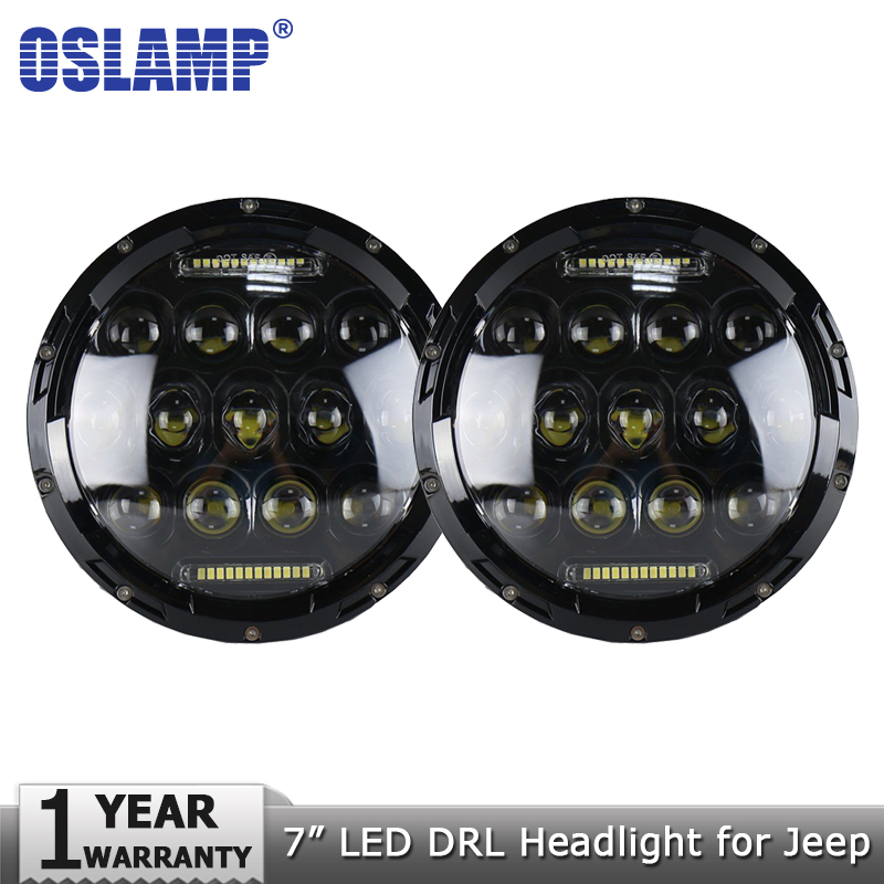 Oslamp 2pcs 7 75W LED DRL Headlight Bulbs Led Driving Light Hi lo H4 H13 Headlights for JEEP Wrangler/Land Rover/Hummer/Harley