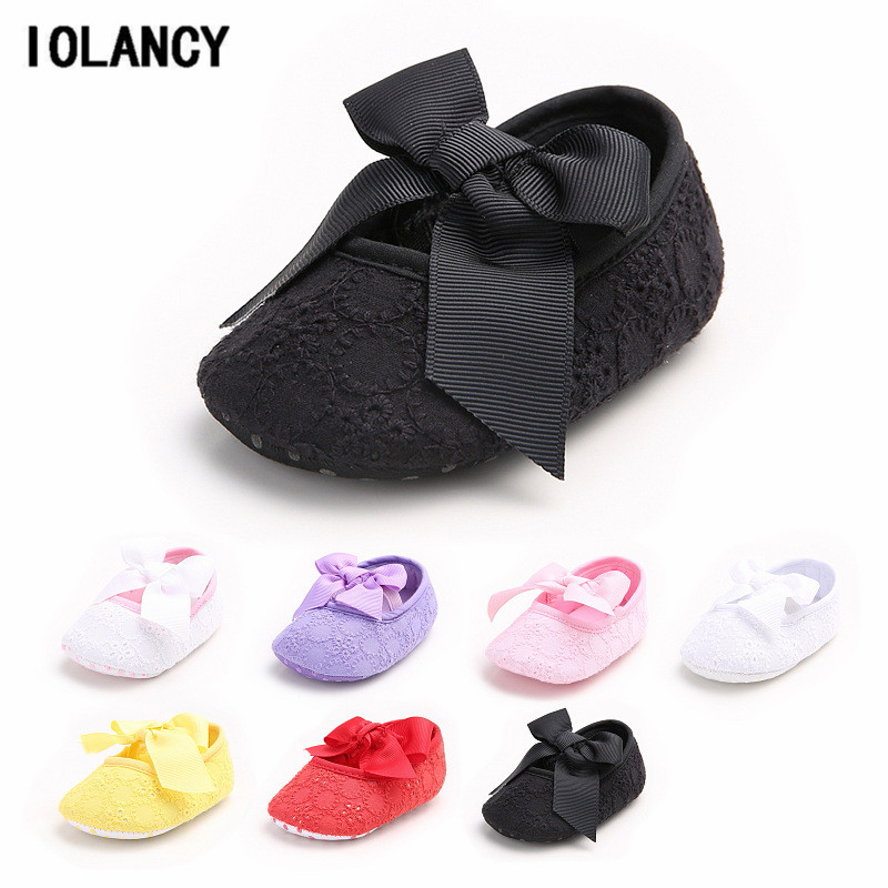 Baby Shoes 7 Colors Soft Soled Baby Girl Bow Elastic Band Shoes First Walker Chaussure Newborn Shoes for Girls Footwear BS088