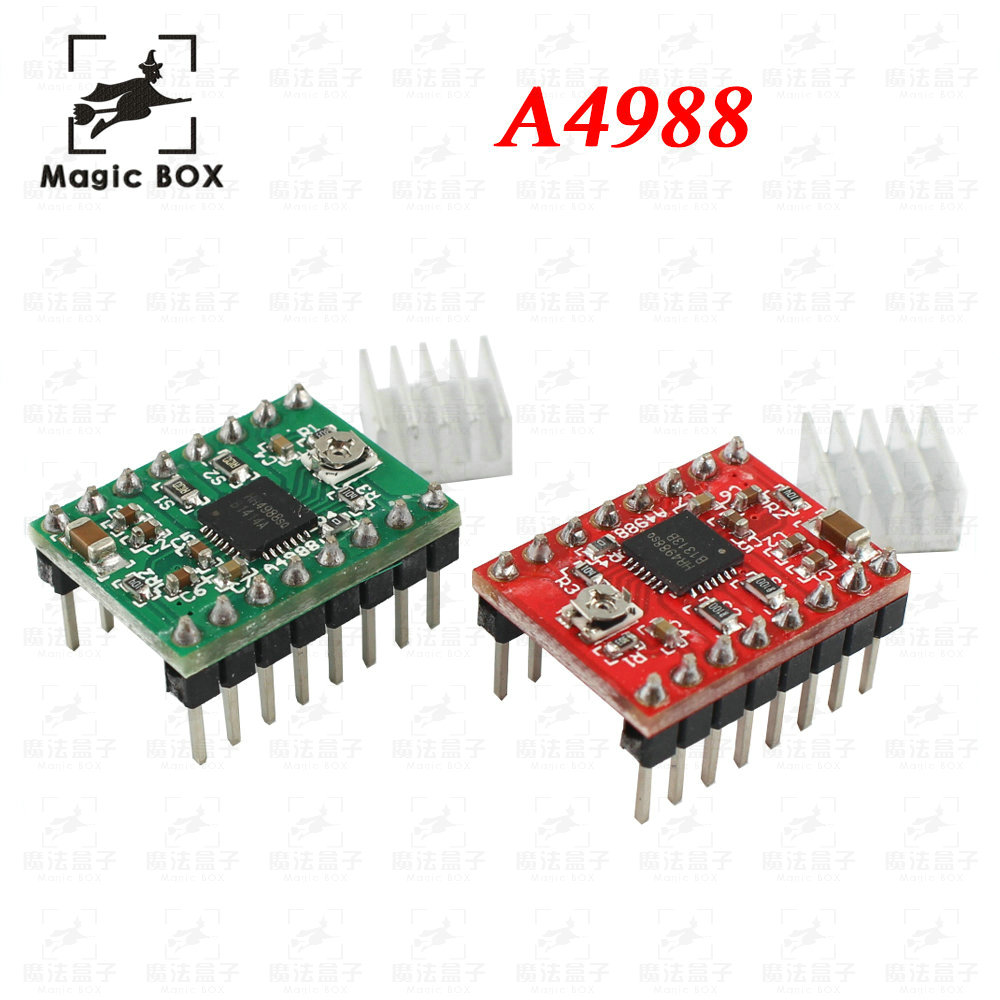 цена на Red Green version 10pcs/lot Reprap Stepper Driver A4988 Stepper Motor Driver Module with Heatsink Free Shipping Dropshipping