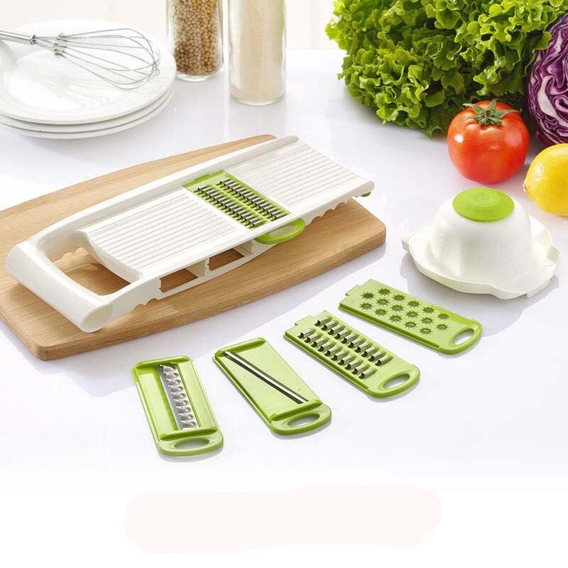 Kitchen Mandoline Slicer Vegetables Cutter With 5 Stainless Steel