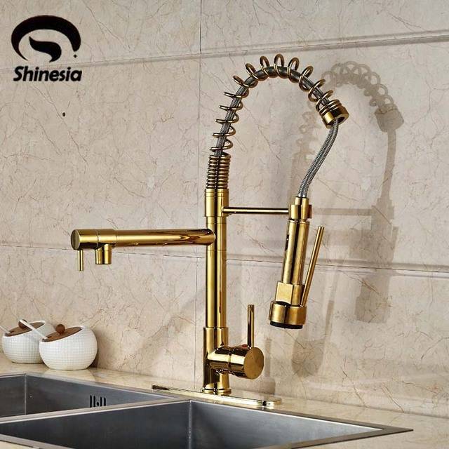 gold kitchen faucet wall tile for modern dual spouts spring sink mixer tap with 10 cover plate hot and cold water deck mounted