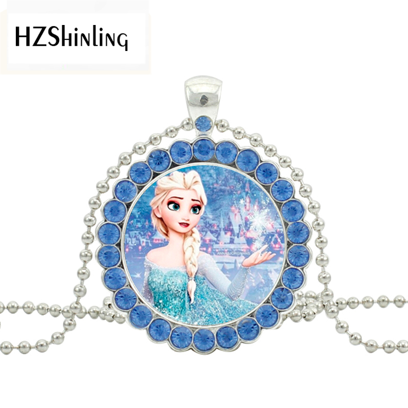 2019 New Queen Elsa Crystal Necklace Snow Queen Pendant Glass Picture Jewelry Silver Ball Chain Necklaces Pendants Gifts Sale Price