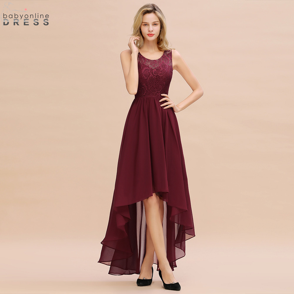 New Arrival Burgundy High Low Lace Chiffon Long Evening Dress Sexy Sheer Back Evening Gowns Vestido de Festa