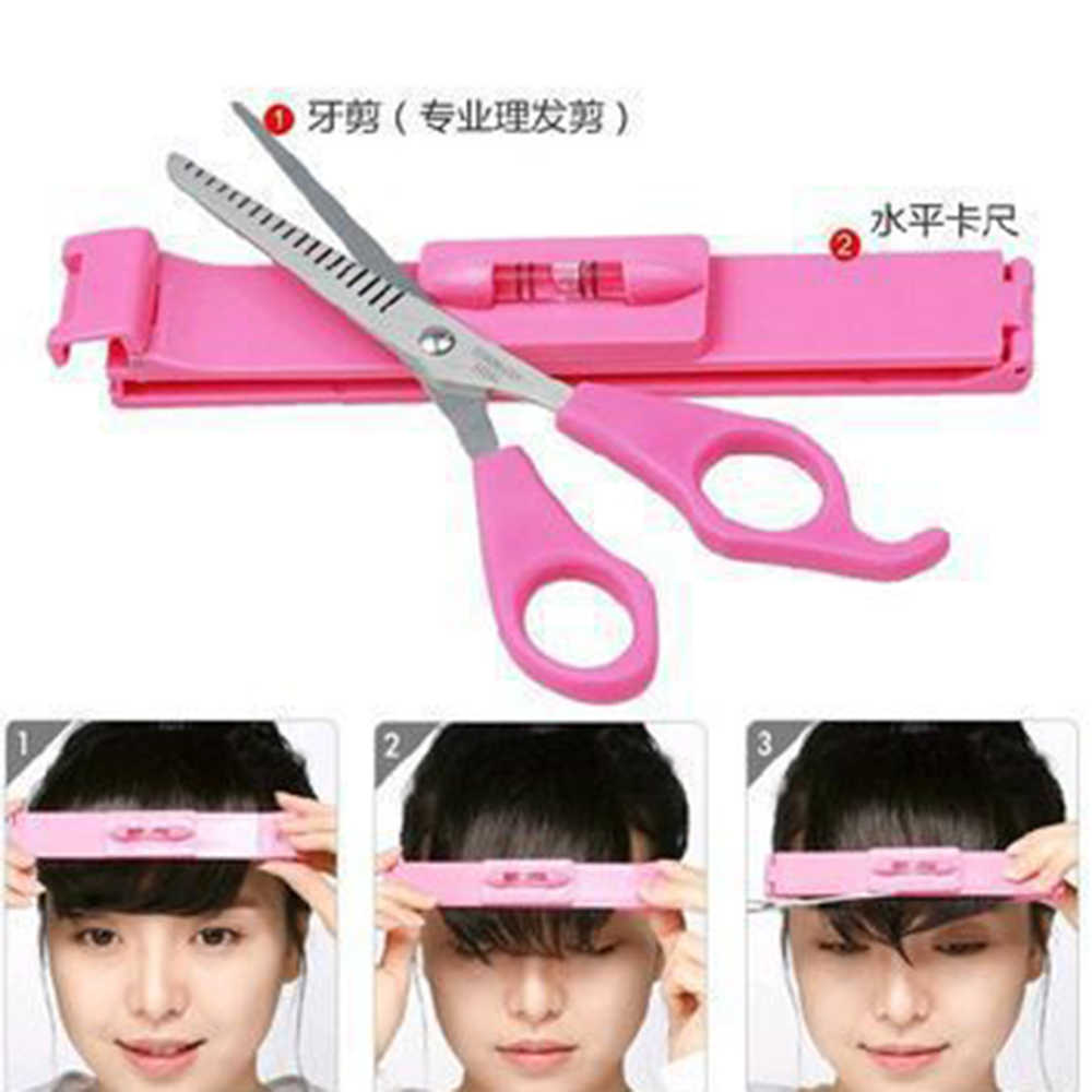 DIY 1 Set New Women Hair Trimmer Fringe Cut Tool Clipper Comb Guide for Cute Hair Bang Level Ruler Hair Accessories