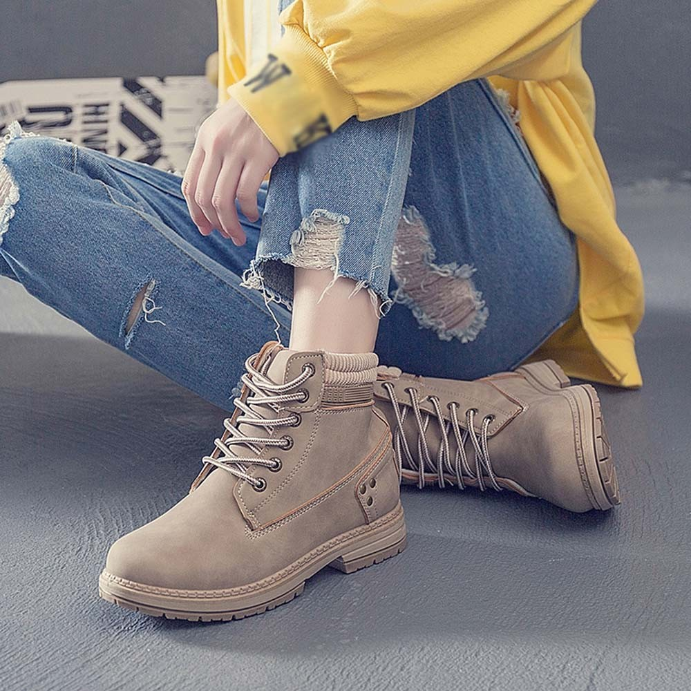 Women Boots Solid Lace Up Casual Ankle Boots Round Toe Shoes Student Snow Boots Classic Winter Warm Ladies Shoes T## 28