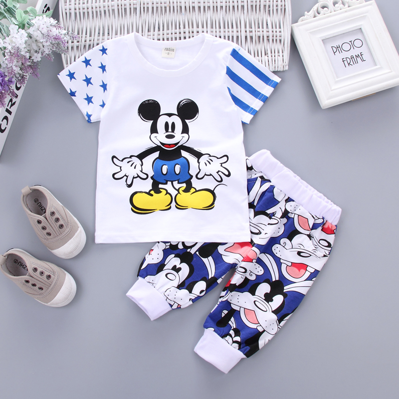 Fashion Children Boys Girls Cotton Clothing Sets Baby Cartoon T-shirt Pants 2Pcs/Set Summer Kids Sport Clothes Toddler Tracksuit fashion baby girl t shirt set cotton heart print shirt hole denim cropped trousers casual polka dot children clothing set