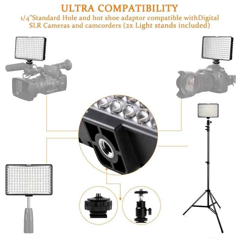SAMTIAN fotografía iluminación LED Video luz 160 Uds Panel luz regulable con trípode para cámara Video estudio foto fotográfica - 5