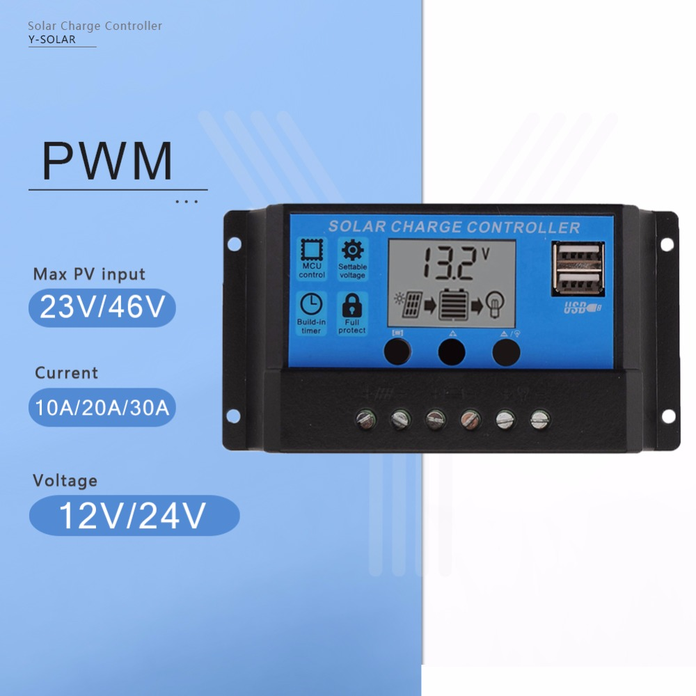 Y-SOLAR PWM 30A 20A 10A Solar Charge and Discharge Controller 12V 24V Auto LCD Display PV Battery Regulator with Dual USB 5V maylar 30a pwm solar charge controller 12v battery regulator with 5v usb output lcd display