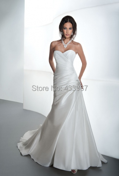 A line bridal gowns sweetheart neckline corset back for Sweetheart neckline ruched bodice wedding dress