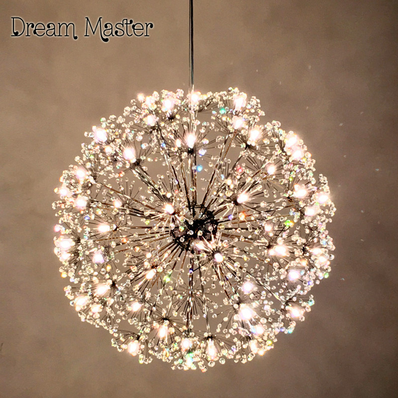 купить Nordic modern minimalist living room round dandelion Crystal Hall chandelier creative led art European style restaurant bedroom онлайн