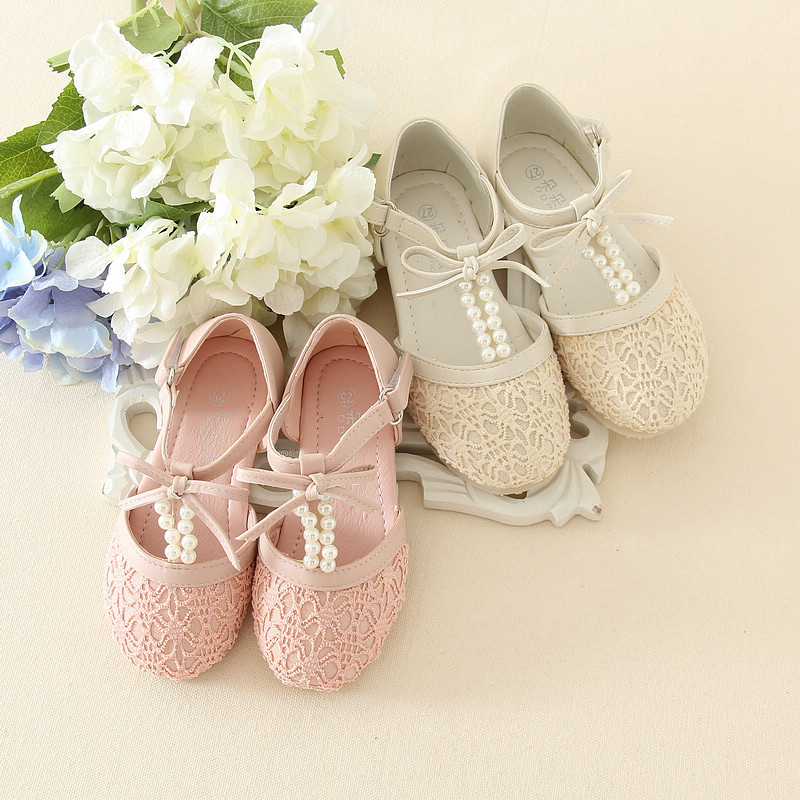 Eleven story baby Girls pearls leather shoes, summer kids boutique leather wear, retail 1-7 years, 1AG804S-08R