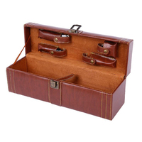 Creative PU Leather Wooden Wine Box with Opener Tools Home Kitchen Bar Accessories Decor High Quality Wine Boxes For Friend Gift