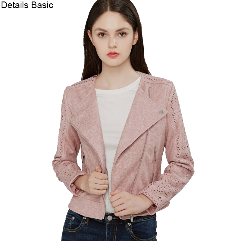 high quality New 2018 Autumn spring Fashion   suede   Short soft faux   Leather   Jacket Slim pink grey S-XL   Leather   Coat Drop Free ship