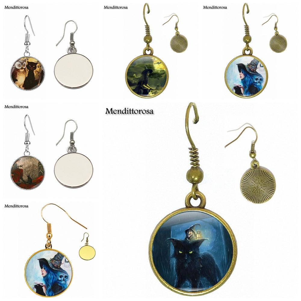 For Women Kids Vintage Jewelry With Bronze/Silver/Golden Clip Ear Hook Drop Earrings Owl Black Cat Witchy