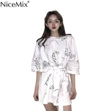 NiceMix England style 2019 fashion clothing pure color patchwork letter print o-neck three quarter flare sleeve with sashes mini