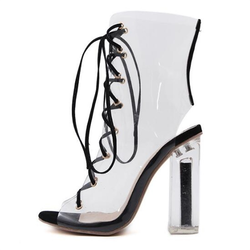 HiHopGirls 2018 New spring women Pumps Peep toe high heels shoes Square heel Ankle Cross Stap Sexy transparent PVC boots woman