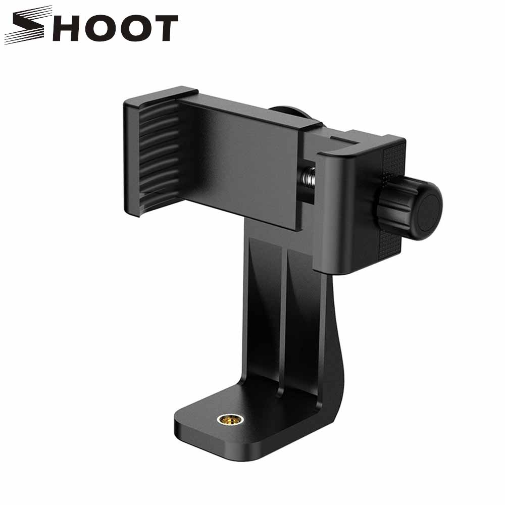 SHOOT Universal 360 Adapter Cell Phone Clipper Holder Vertical Bracket SmartPhone Clip For iPhone X 8 7 Samsung Xiaomi Phone 360 degree rotation chuck cell phone holder mount bracket adapter clip with 1 4 screw for 54mm 102mm phone vertical