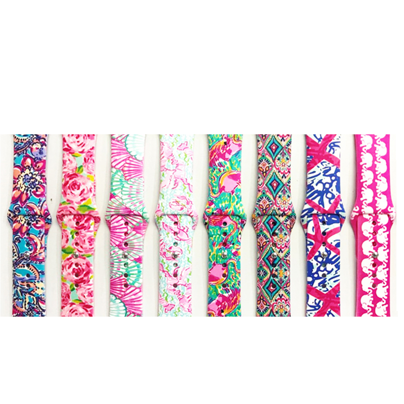 Camouflage flowers print Silicone Replacement Sport Band For Apple Watch Series123 38mm 42mm Strap For iWatch Sports Edition