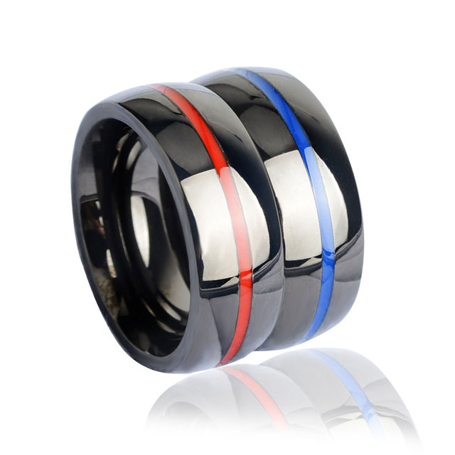 Keisha Lena Mens Firefighter Ring Stainless Steel Thin Blue Line Top Quality Red Rings