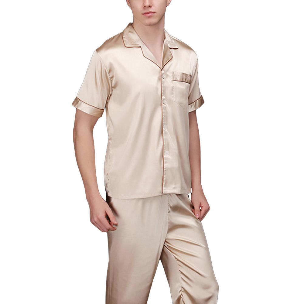 Men's Pajama Sets Men's Sleep & Lounge New Fashion Natural Silk Men Sleep Sets Males Comfortable Loose Simulation Pure Silk Pajamas Set Elegant Solid Summer Sleepwearsan0