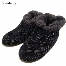 large size winter furry slippers home men for warm soft soles of shoes man house bedroom woven flannel exposure pantoufle homme