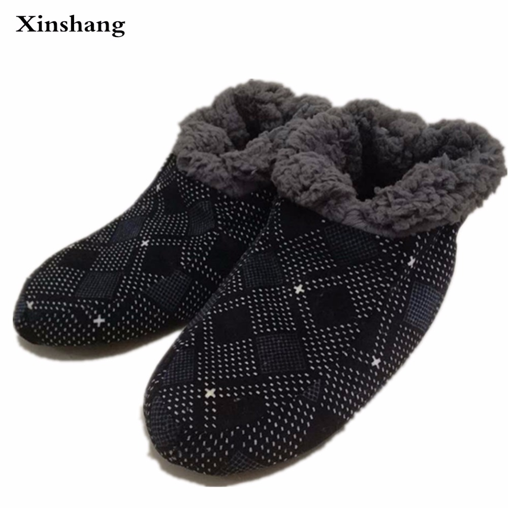 large size winter furry slippers home men for warm soft soles of shoes man house bedroom woven flannel exposure pantoufle homme xiaokaixin winter home couples slippers large size women
