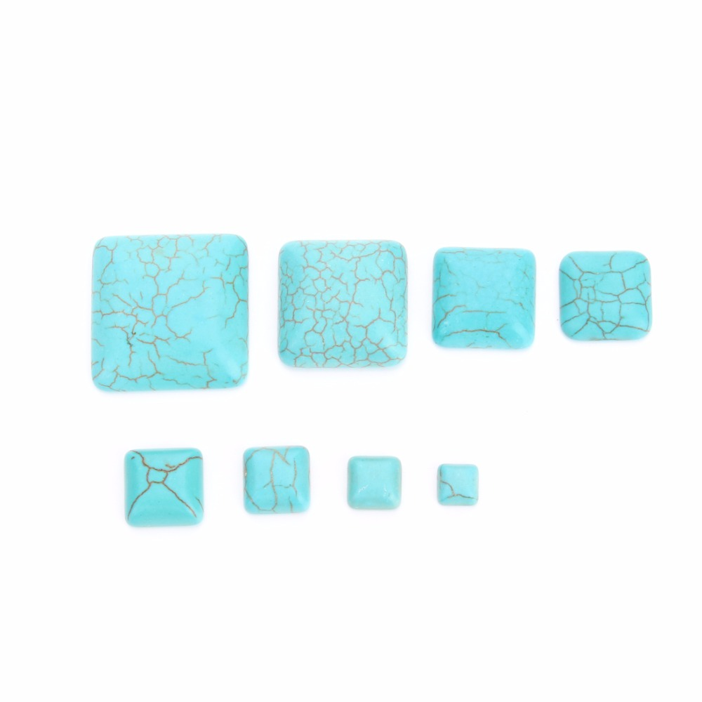 DC 10pcs/lot Flat-back Blue Square Stone Bead Beads 6/8/10/12/14/16/20/25mm fit Bracelet Necklace DIY Jewelry Components