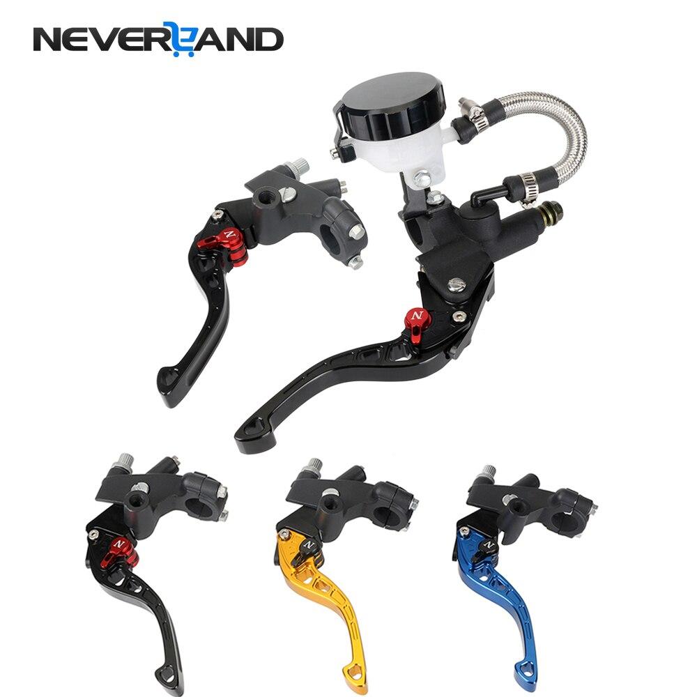 Motorcycle Adjustable 7 8 22mm Clutch Brake Levers Master Cylinder Reservoir Set Short Motorbike Brakes For