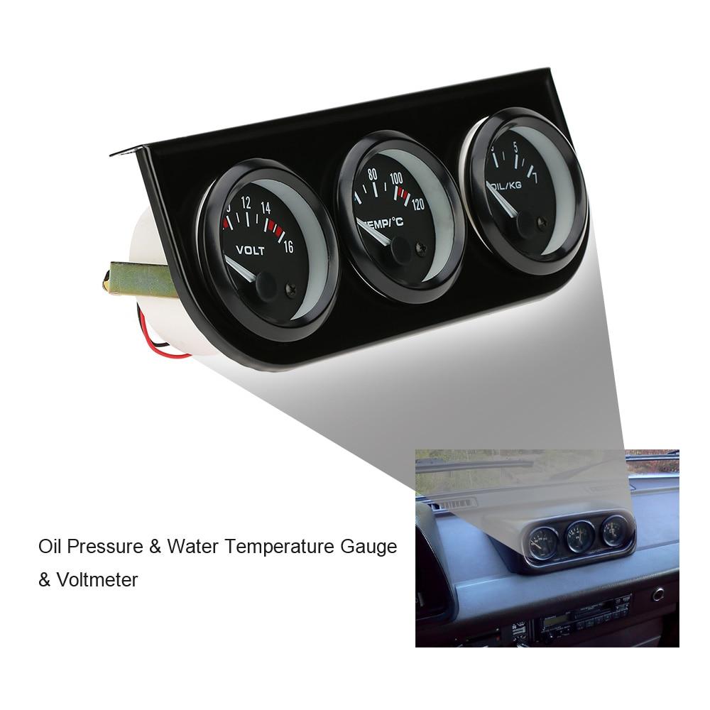 US $22 38 30% OFF|Best Sale 52mm Electronic Triple Gauge Kit Oil Pressure  Water Temperature Gauge Voltmeter 3 in 1 Car Motorcycle Meter-in Oil