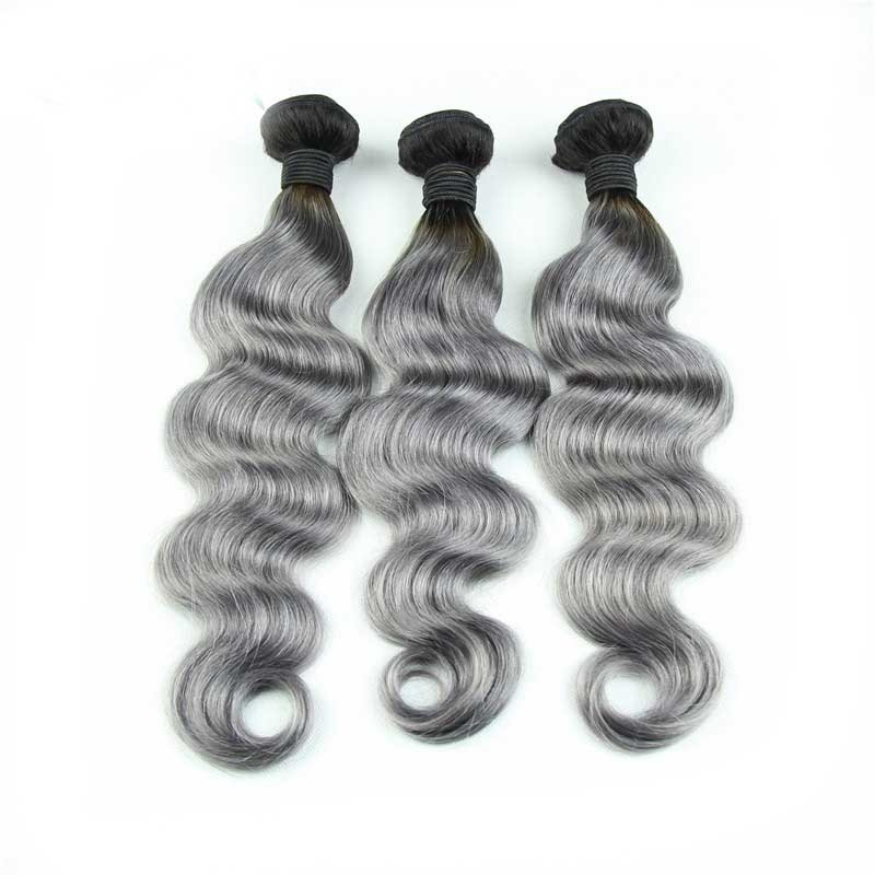 Full-Shine-Brazilian-Real-Human-Hair-3-Bundles-With-Lace-Closure-Color-1B-Ombre-Silver-Body