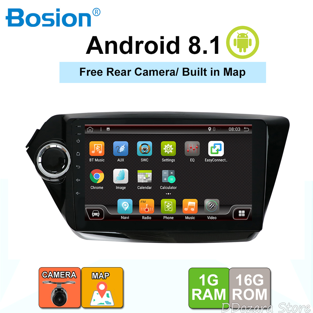 Bosion Car Radio Multimedia Video Player Navigation GPS Android 8.1 For KIA K2 RIO accessories no dvd 2 din Rear View Camera MapBosion Car Radio Multimedia Video Player Navigation GPS Android 8.1 For KIA K2 RIO accessories no dvd 2 din Rear View Camera Map