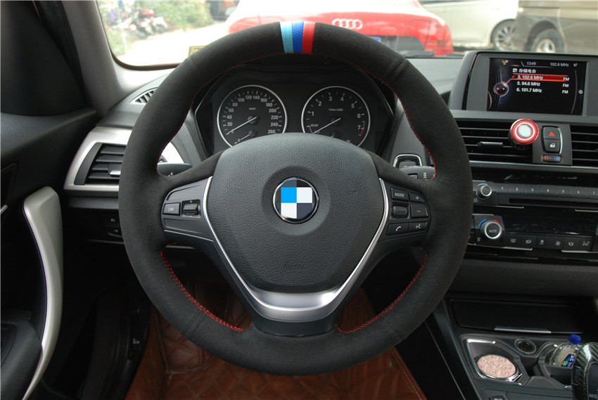 OLPAY DIY Black Suede Car Steering Wheel Cover for BMW F20 2012 2018 F45 2014 2018 F30 F31 F34 Soft Comfortable Durable in Steering Covers from Automobiles Motorcycles