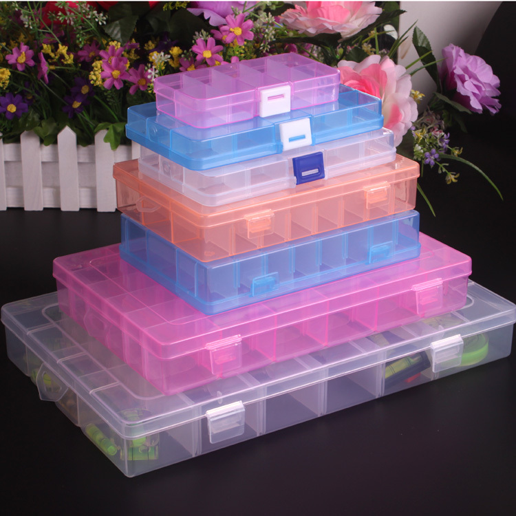 Multicolor squares PP Adjustable Plastic 8.10.15.24.36 Compartment Storage Box Jewelry Earring Bin Case Container