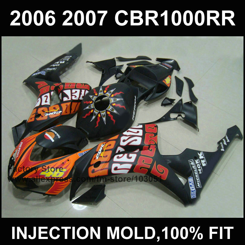 Customize injection Motorcycle Fairings for HONDA 06 07 CBR 1000RR CBR 1000 RR 2006 2007 Rossi repsol body repair fairing kits