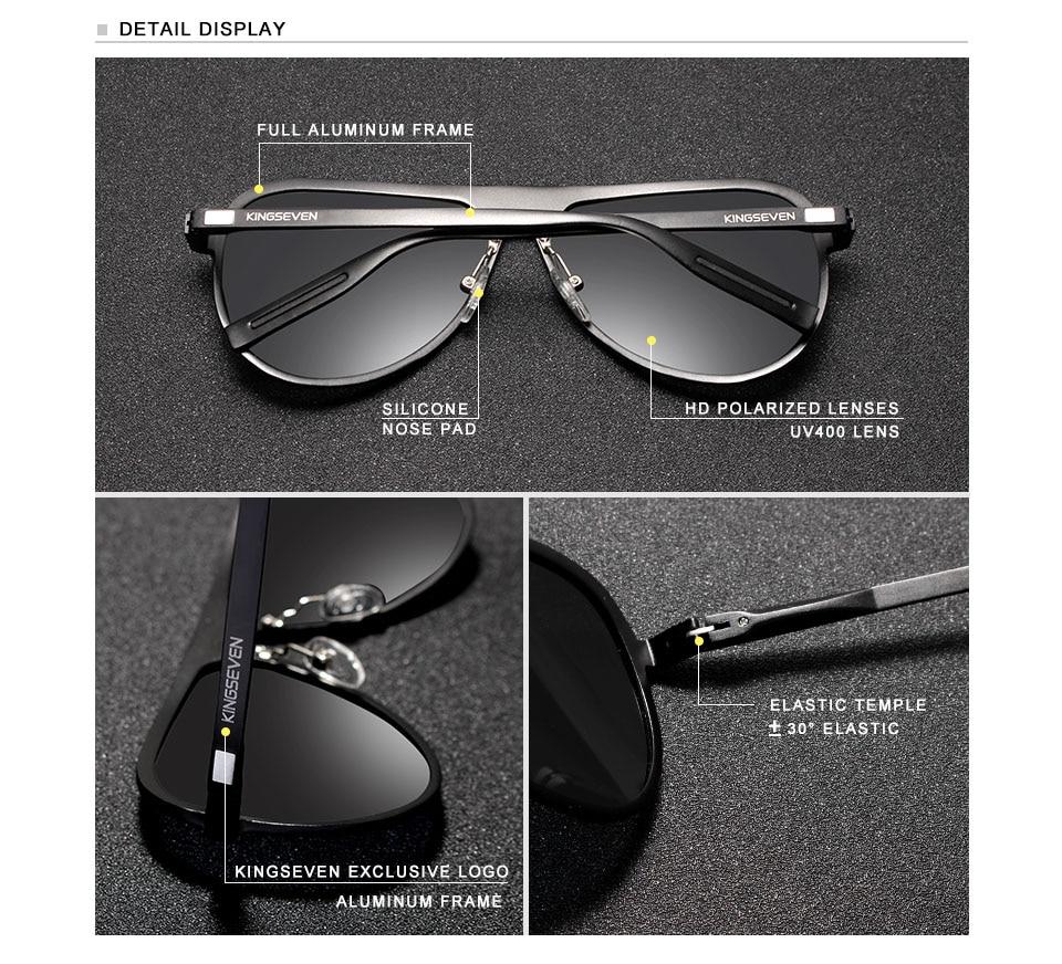 KINGSEVEN Full Frame Aluminum Magnesium Male Sunglasses Men 100% Polarized Sun glasses Women UV400 Oculos de sol