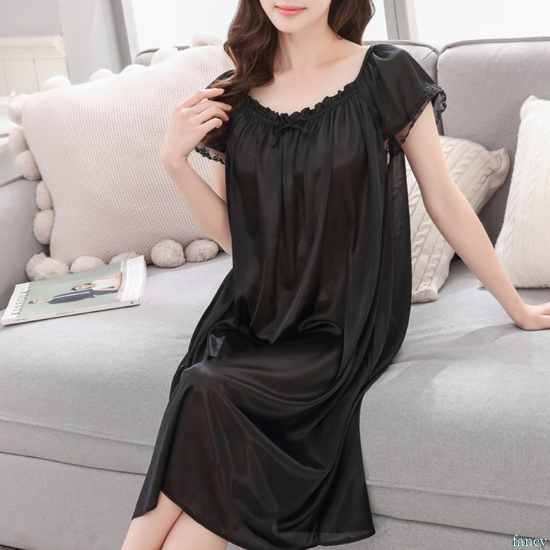 Womens Summer Lace Ice Silk Nightdress Short Sleeve Loose Plus Size Nightgown XL(China)