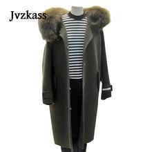 Jvzkass 2018 new autumn and winter womens trend woolen coats long section of the Korean fur collar coat Z105
