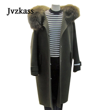 Jvzkass 2018 new autumn and winter women's new trend woolen coats women's long section of the Korean fur collar woolen coat Z105 недорого