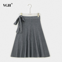VGH Lace Up Elastic Midi Long Knitted Skirt For Women Black Winter High Waist Slim Knee