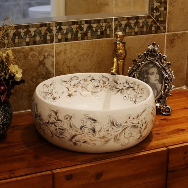 europe vintage style ceramic art basin sinks counter top wash basin bathroom vessel sinks vanities single - Bathroom Vessel Sinks
